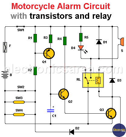 Motorcycle Alarm Circuit with transistors and relay