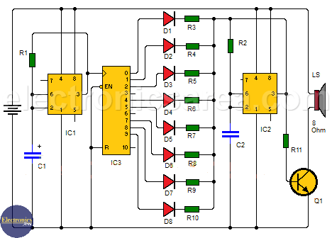 Music box Circuit using a CD4017 and two 555