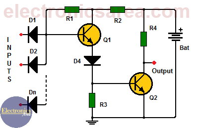 NAND gate using transistors - Electronics Area Nand Gate Circuit Diagram on