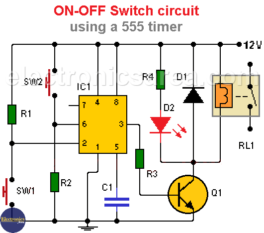 ON-OFF Switch circuit using the 555 Timer