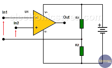 How to use op amps with a single rail power supply - Voltage divider using two resistors
