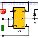 Rain Alarm Circuit using 555 IC