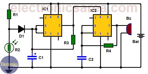Fridge door alarm circuit with two 555 timers