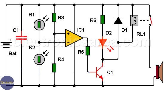 Shadow detector alarm circuit with two LDRs