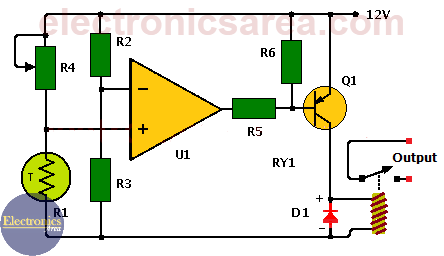 Temperature alarm circuit with operational amplifier