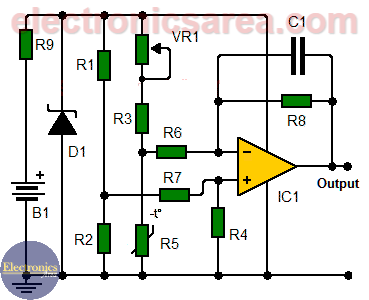 Temperature to Voltage Converter Circuit using Thermistor