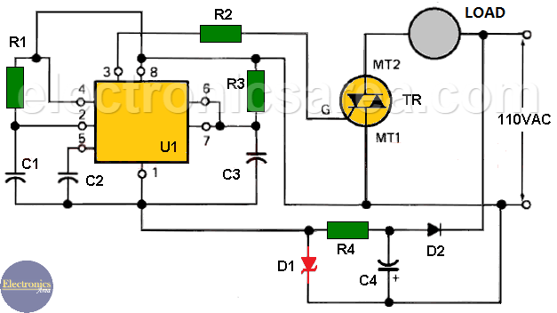 Time Delay Circuit using Triac and 555