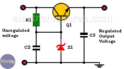 Transistor - Zener Diode Voltage Regulator Circuit