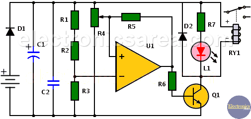 Twilight Switch Circuit with LDR and Op. Amp.