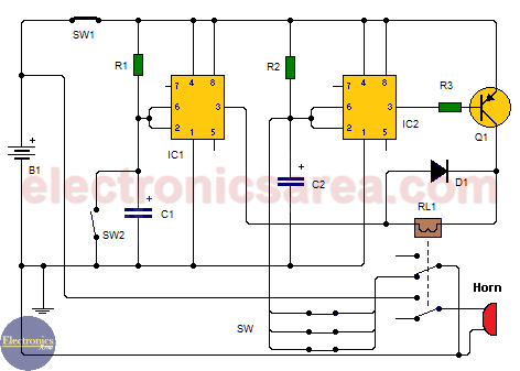 Car Burglar Alarm using two 555 timers