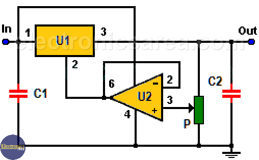 Variable voltage regulator using 7805 and 741
